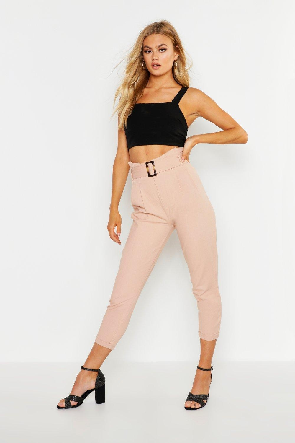 High Rise Tortoise Shell Belt Denim Trouser, Pink