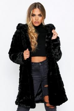 Hooded Faux Fur Pannel Coat, Black