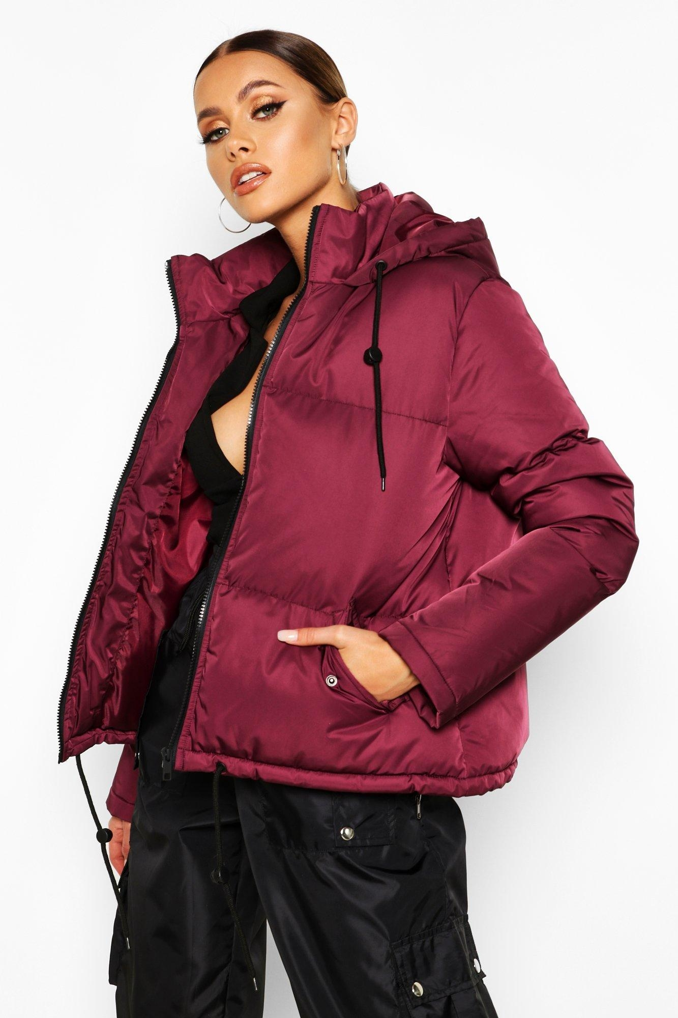 Hooded Padded Jacket, Red