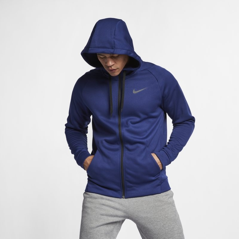 Huvtröja för träning med hel dragkedja Nike Dri-FIT Therma för män – Blå