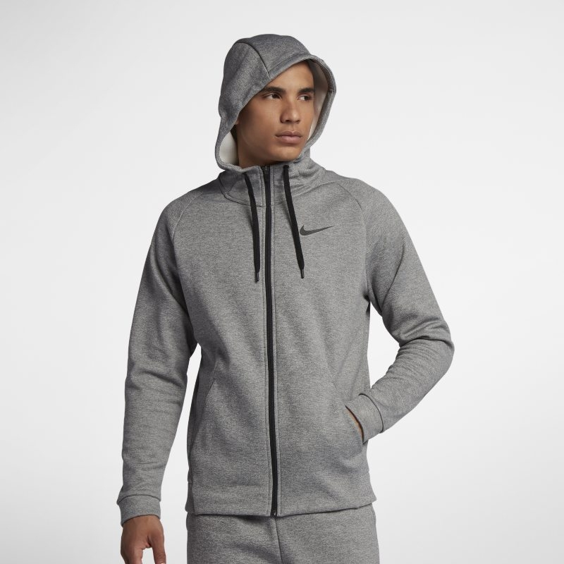 Huvtröja för träning med hel dragkedja Nike Dri-FIT Therma för män – Grå