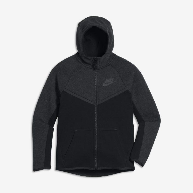 Huvtröja med hel dragkedja Nike Sportswear Tech Fleece Windrunner för ungdom (killar) – Svart