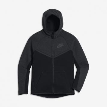 Huvtröja med hel dragkedja Nike Sportswear Tech Fleece Windrunner för ungdom (killar) - Svart
