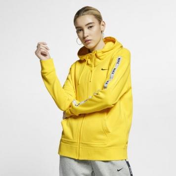 Huvtröja med logga och hel dragkedja Nike Sportswear för kvinnor - Gul