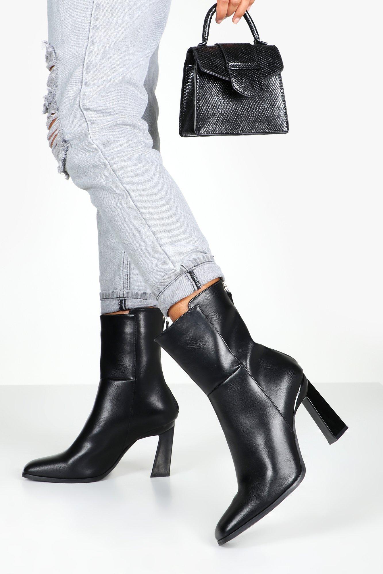Interest Heel Zip Back Shoe Boots, Black