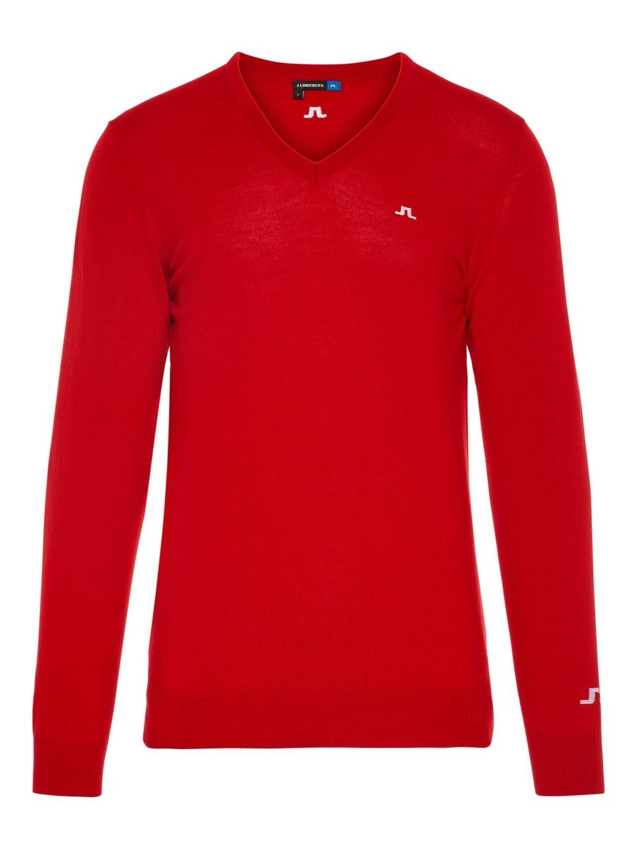 J.LINDEBERG Lymann Tour Merino Sweater Man Röd