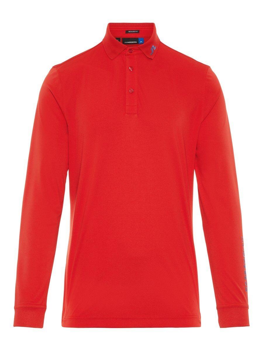 J.LINDEBERG M Tour Tech Ls Reg Tx Jersey + Polo Shirt Man Röd