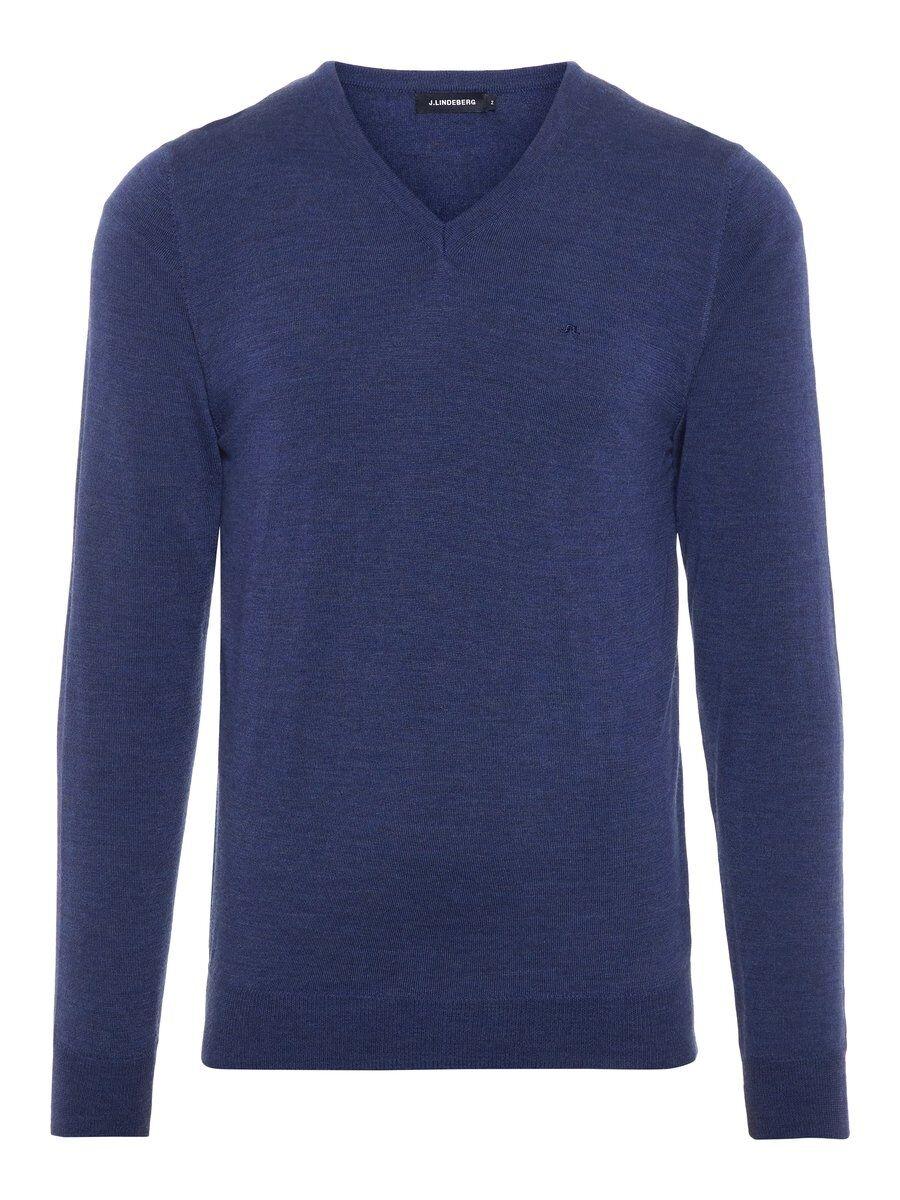 J.LINDEBERG Newman V-neck Perfect Merino Sweater Man Blå