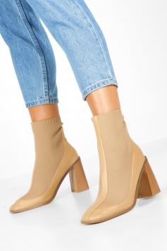 Knit Panel Block Heel Sock Boots, Beige