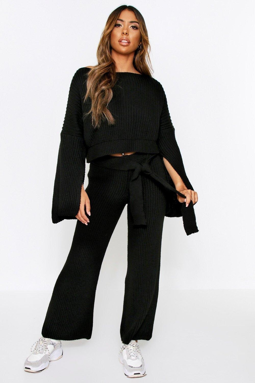 Knitted Trouser & sweater Co Ord, Black