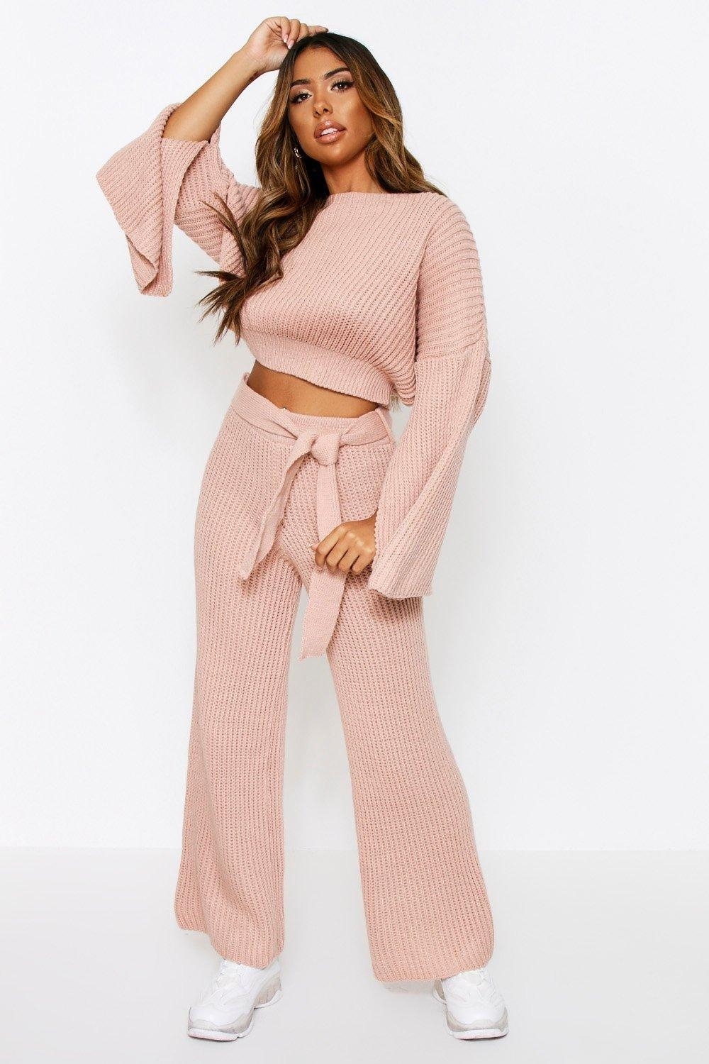 Knitted Trouser & sweater Co Ord, Pink