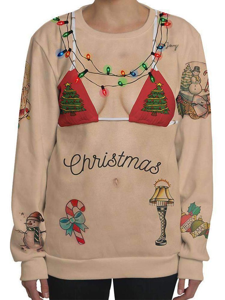 Kvinna Jul Bikini Print Crew Neck Långärmad tröja