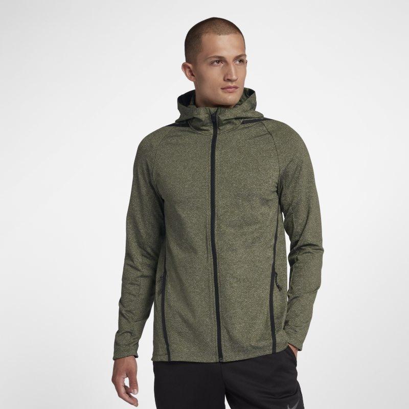 Långärmad träningshuvtröja med hel dragkedja Nike Dri-FIT för män – Grön