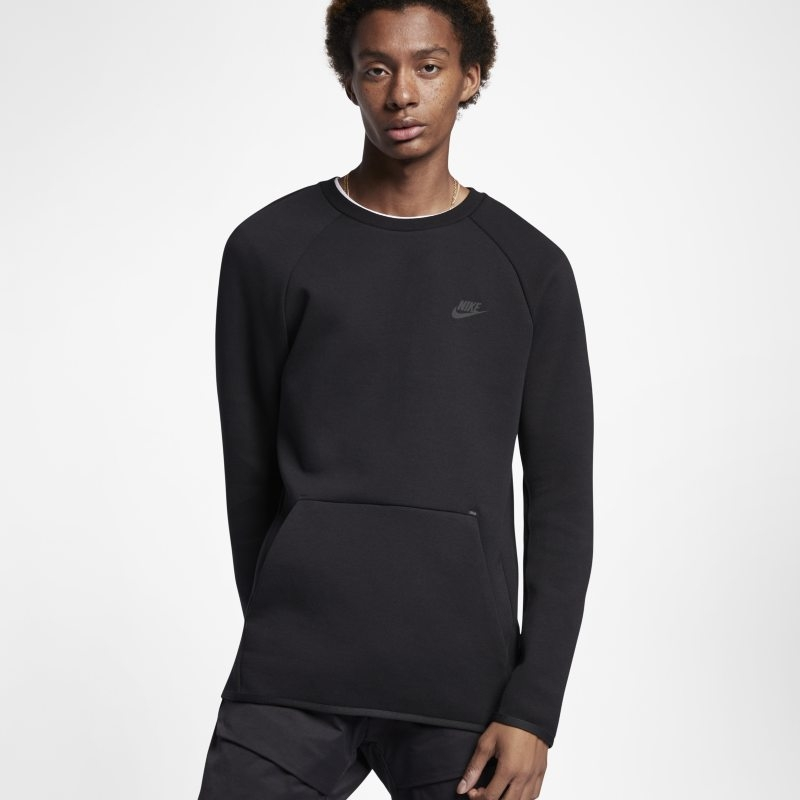 Långärmad tröja med rundad hals Nike Sportswear Tech Fleece för män – Svart