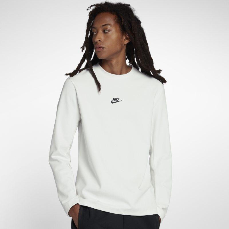 Långärmad tröja med rundad hals Nike Sportswear Tech Pack för män – Vit