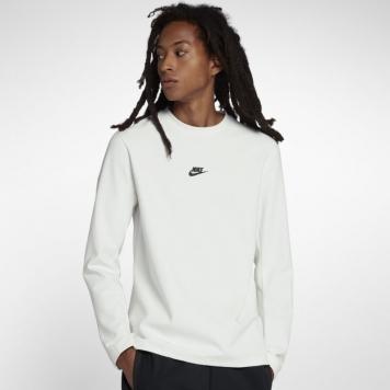 Långärmad tröja med rundad hals Nike Sportswear Tech Pack för män - Vit
