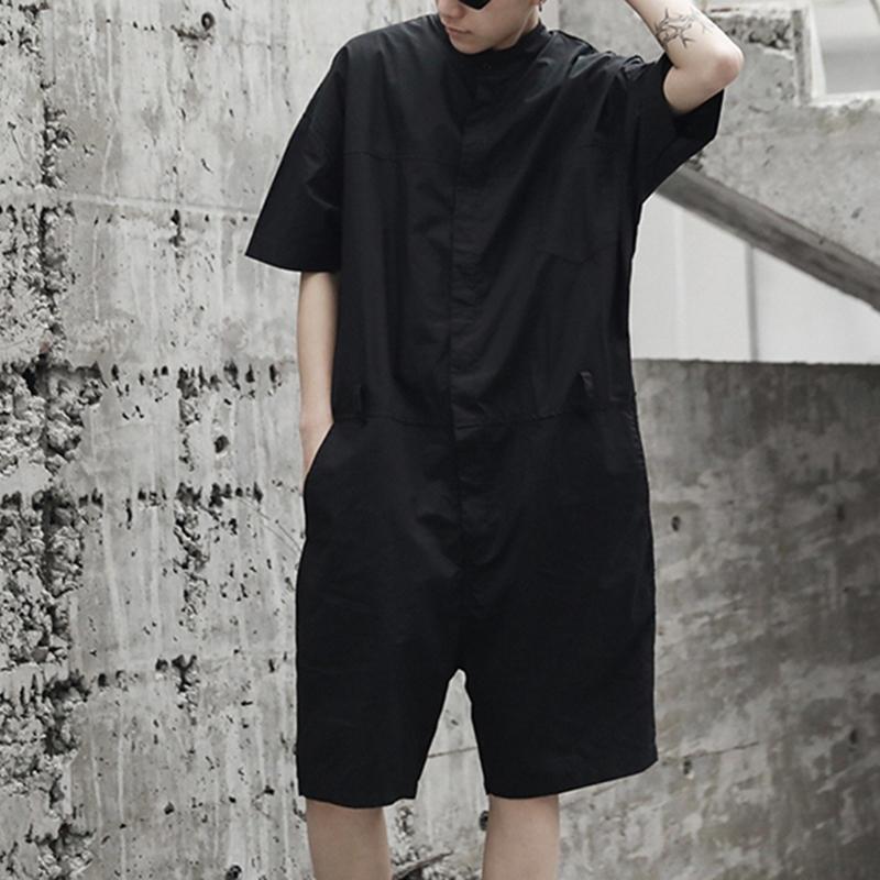 Lösa overalls för män Knäppas upp Casual Cargo Jumpsuit Streetwear Rompers byxor