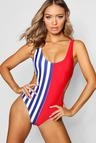 London Colour Block Cut Out Stripe Swimsuit