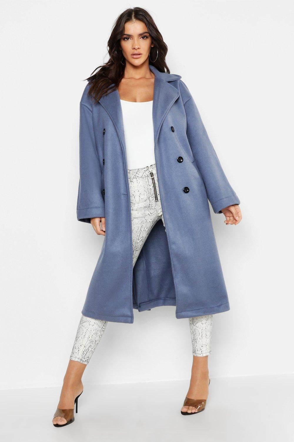 Longline Double Breasted Wool Look Coat, Blue