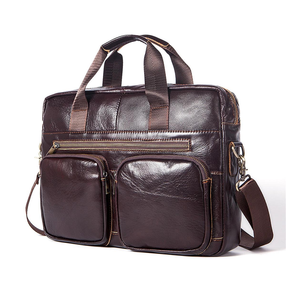 Män Äkta läder Fritid Business Portfölj Handväska axel blixtlås väska