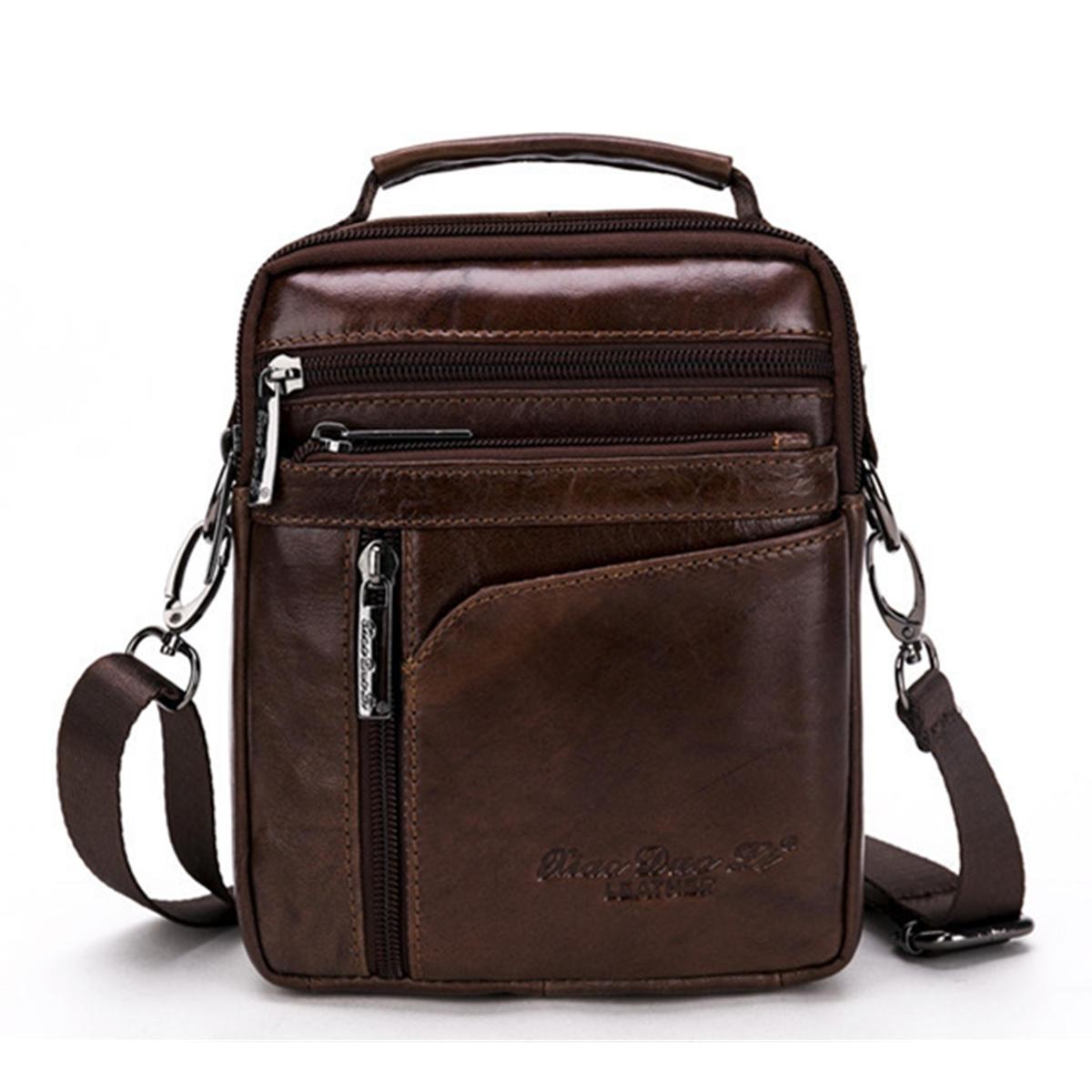 Män äkta läder axelväska Business Messenger Satchel Crossbody väska