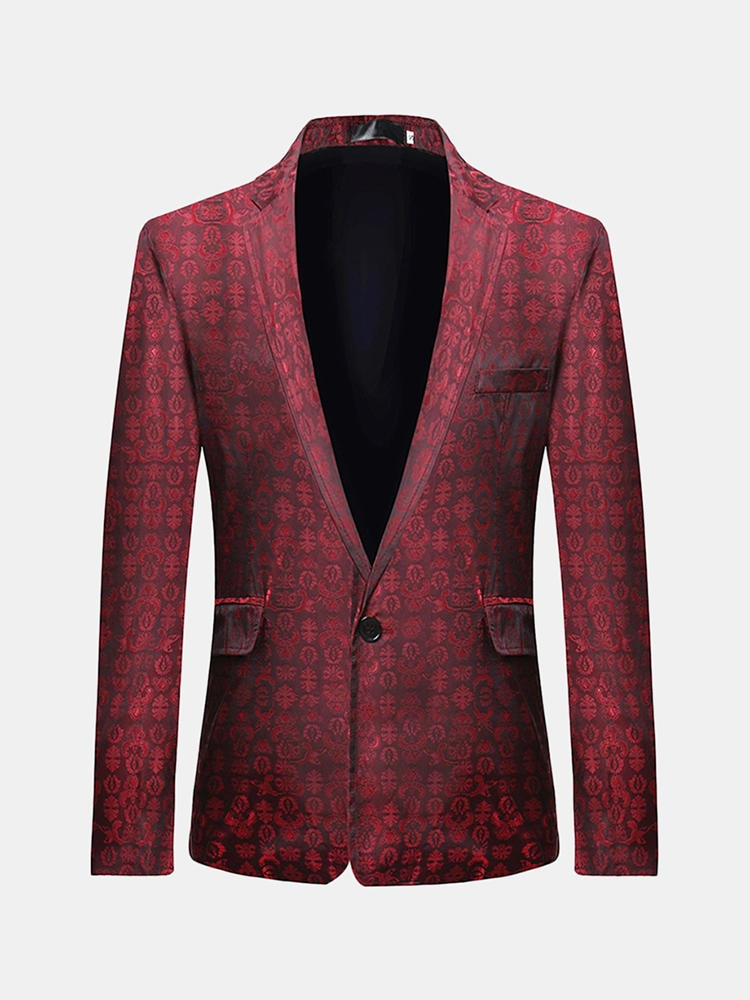 Män Business Casual Print Fickor Single Breasted Design Slim Young Blazers