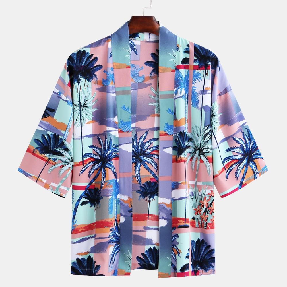 Män Hawaiian Print Beach Pool Baddräkt Kimono Cardigans