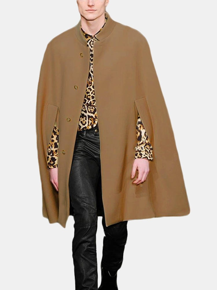 Män New Mid Long Cloak Han Style Batwing Collar Coats