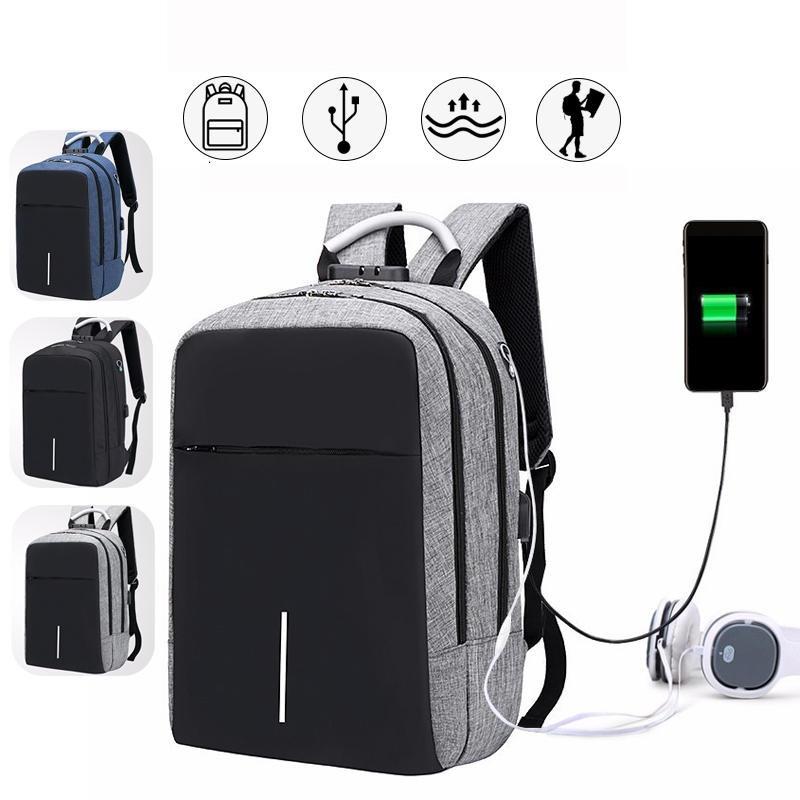 Män pojkar ryggsäck ryggsäck med USB-port hörlurar hål resa vandring skolväska