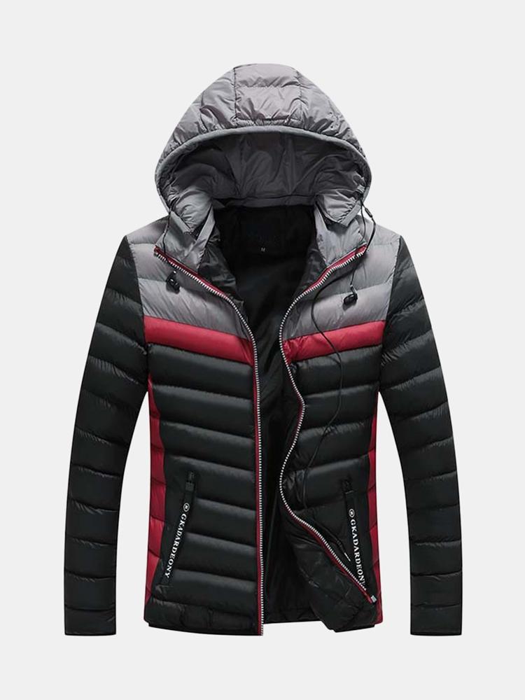 Mäns casual vinter sömmar fickor dragkedja hörlurar design varm ner rockar