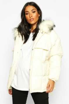 Maternity Faux Fur Trim Padded Jacket, White