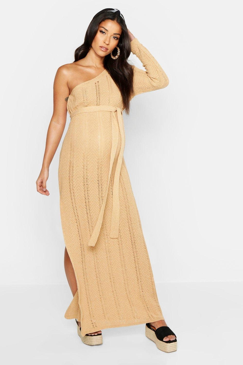 Maternity One Shoulder Knitted Beach Dress, Beige