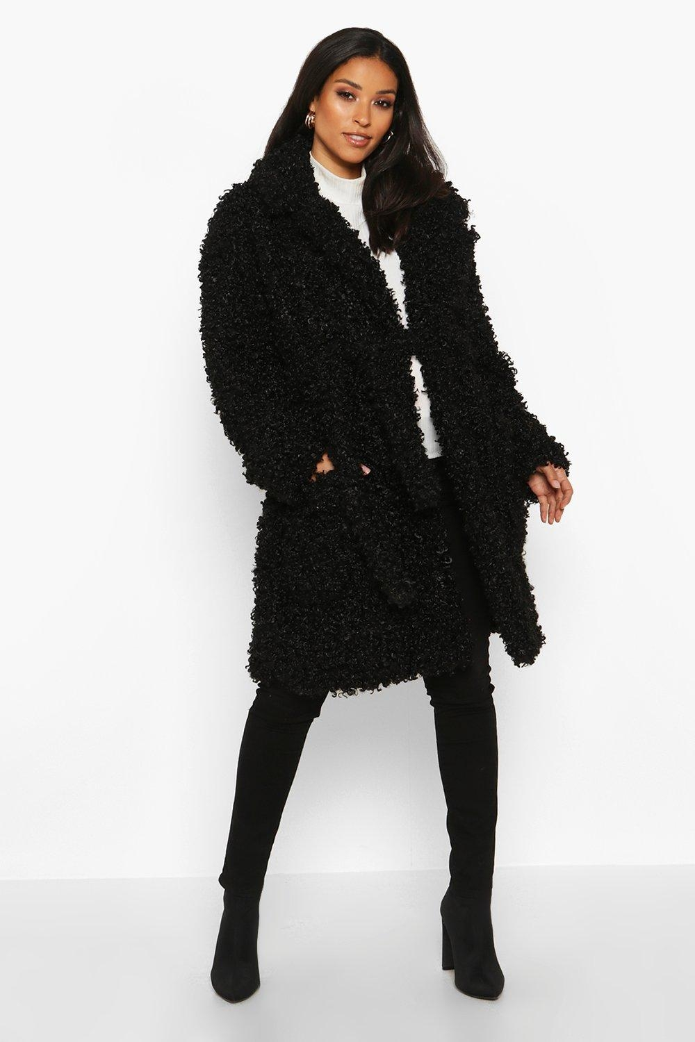Maternity Teddy Faux Fur Wrap Coat, Black