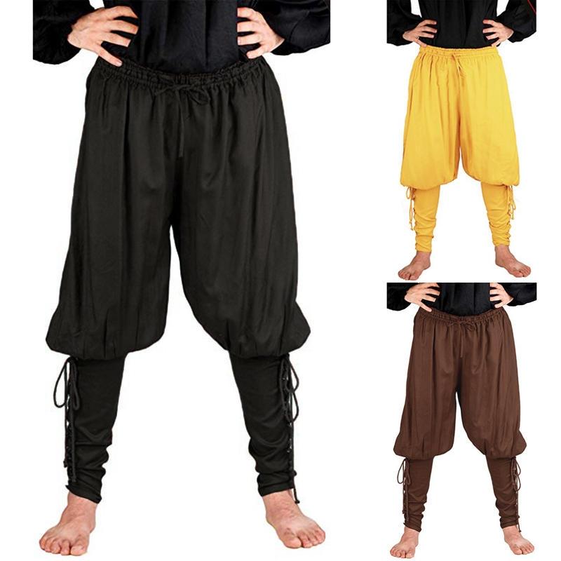 Medeltida renässans Mens Pirate Knight Byxor Lace Long Pants Shorts