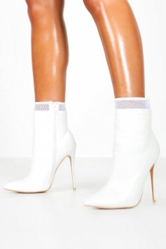 Mesh Insert Stiletto Shoe Boots, White