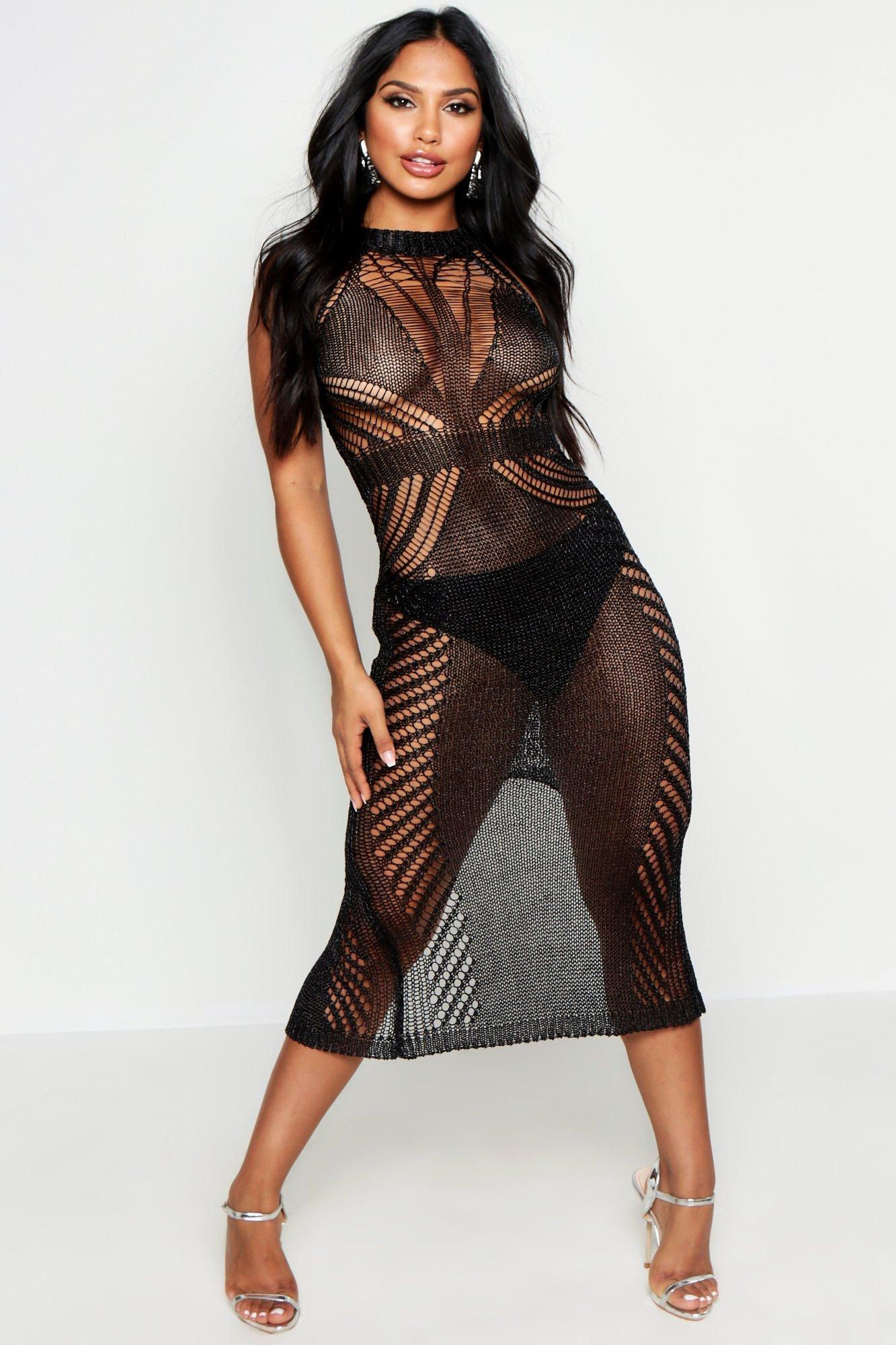 Metallic Knit Maxi Dress, Black