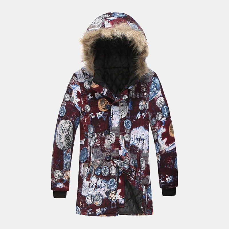 Mid Long Colorful Printing Hooded Long Sleeve Thickened Warm Coats