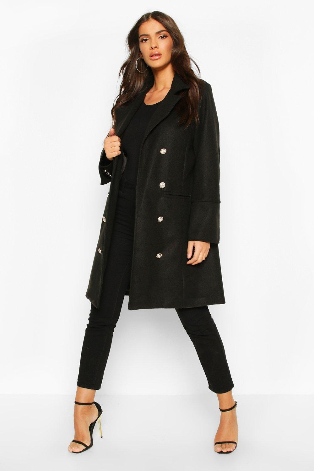 Military Button Double Breasted Wool Look Coat, Black