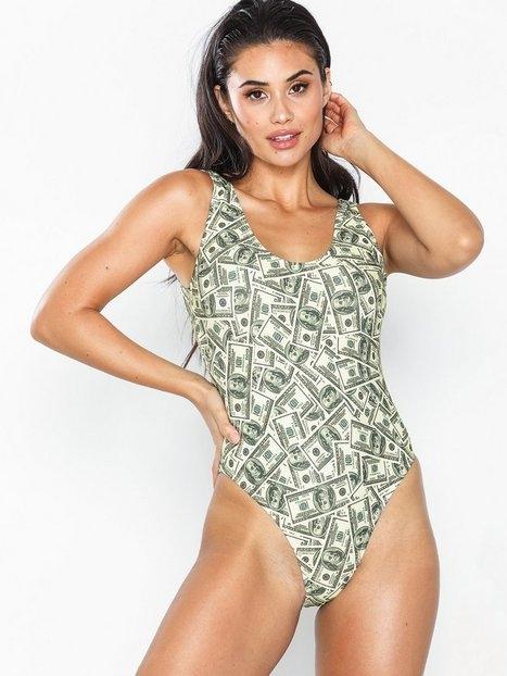 Missguided Dollar Print Waistband Swimsuit Sportbadkläder