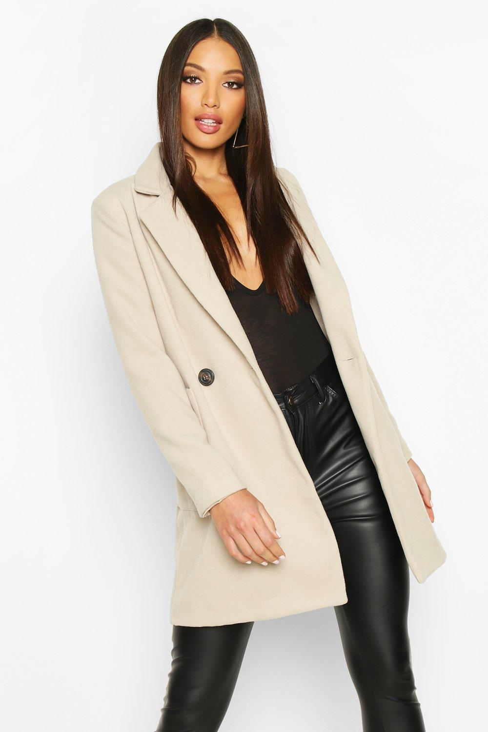 Mock Horn Button Wool Look Coat, Beige
