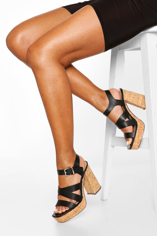 Multi Strap Block Heel Platforms, Black