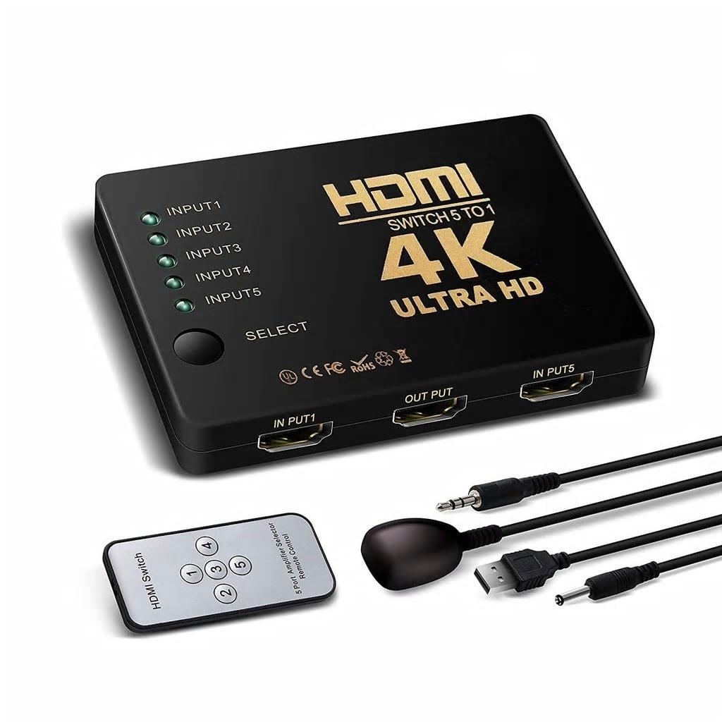 NULL HDMI Switch 5×1 med fjärrkontroll