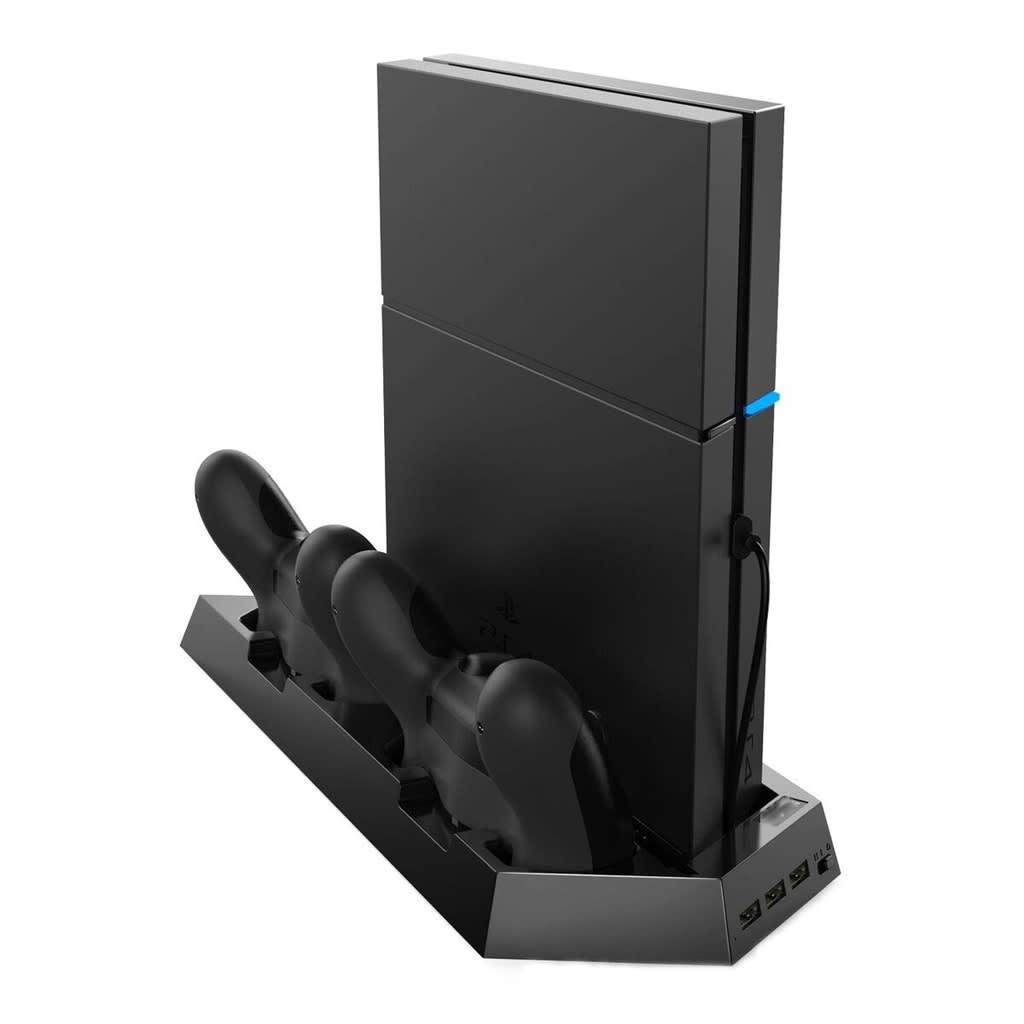 NULL PS4/PS4 Slim vertikalt stativ med kylfläkt, laddstation, USB Hub