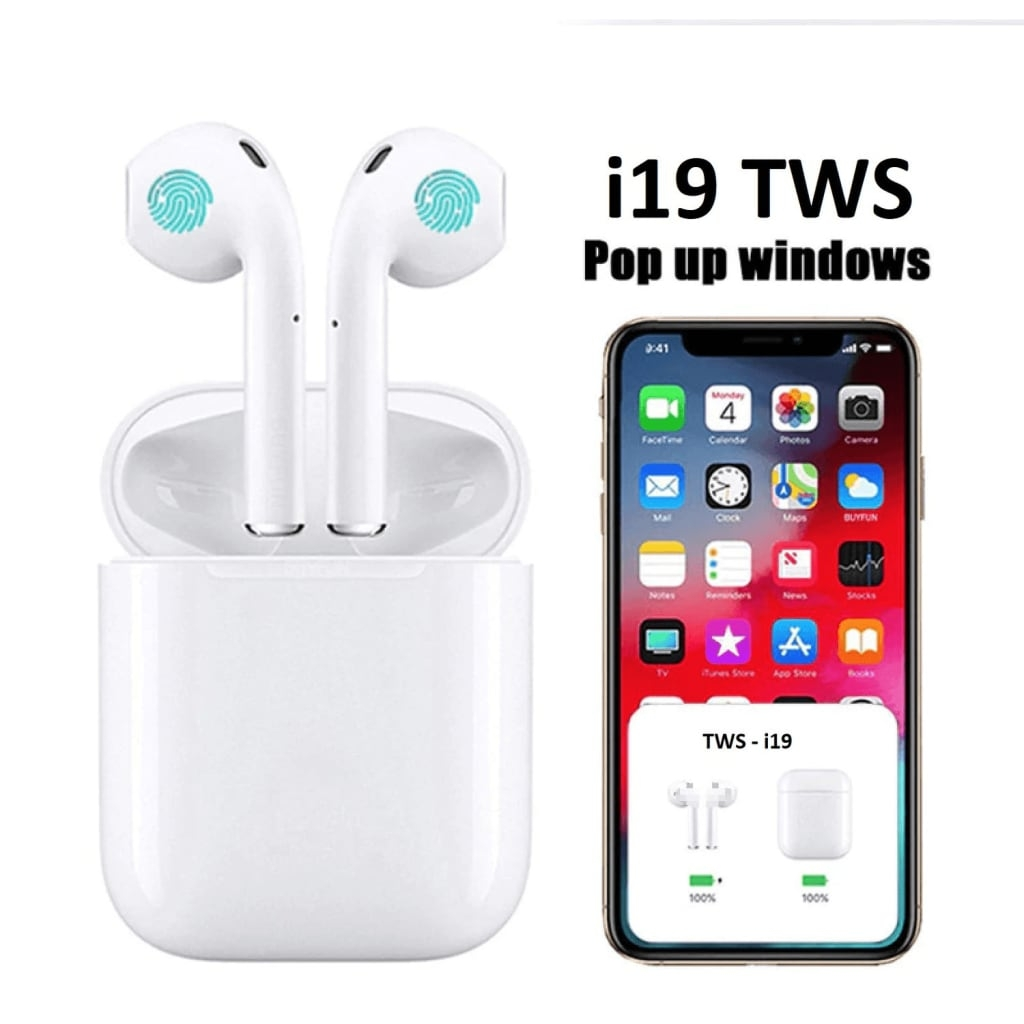 NULL Premiumkvalitet EarPods i19 TWS Mindre Storlek – iOS & Android