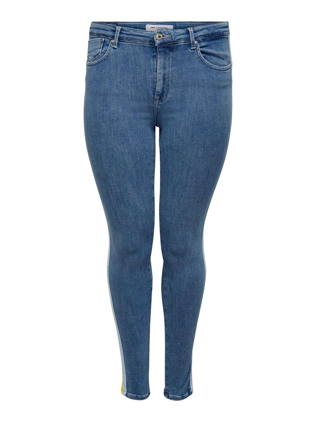 ONLY Curvy Wauw Reg Push Up Skinny Fit Jeans Kvinna Blå