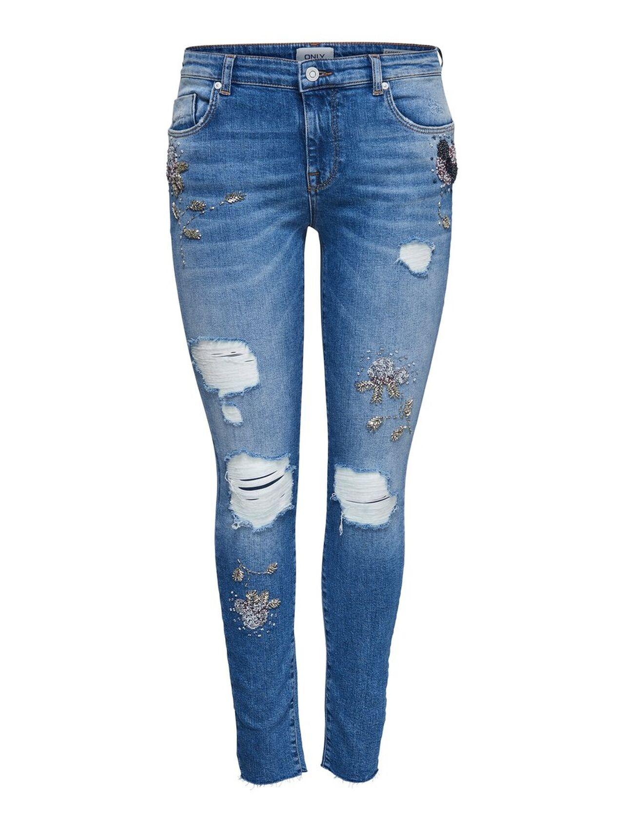 ONLY Onlcarmen Reg Pearl Skinny Fit Jeans Kvinna Blå