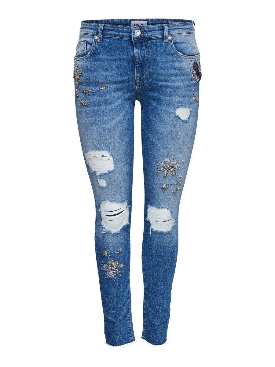 ONLY Onlcarmen Reg Pearl Skinny Fit-jeans Kvinna Blå