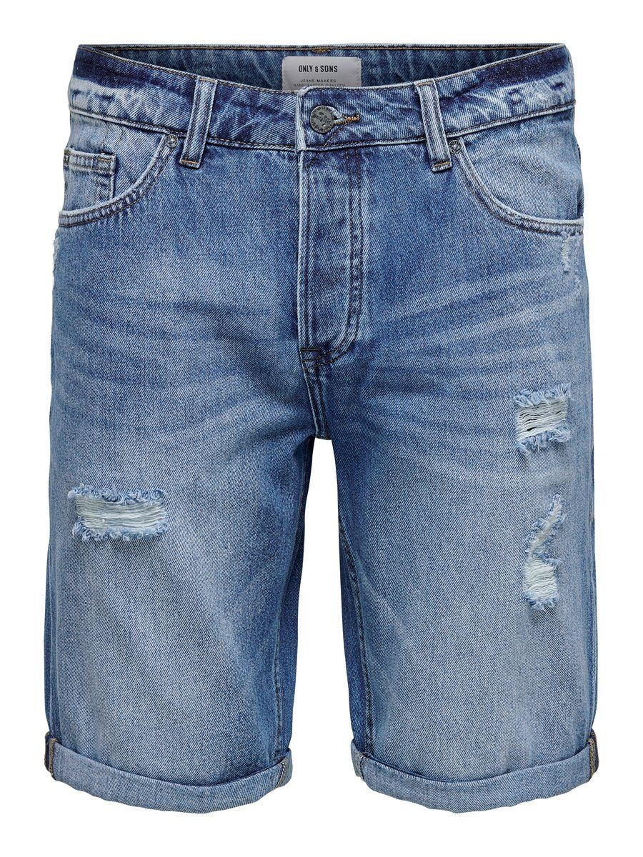 ONLY & SONS Avi Blå Slitna Jeansshorts Man Blå