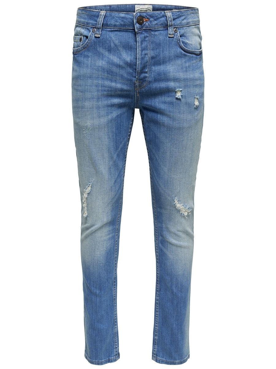 ONLY & SONS Onsloom Ljusa Slitna Regular Fit-jeans Man Blå