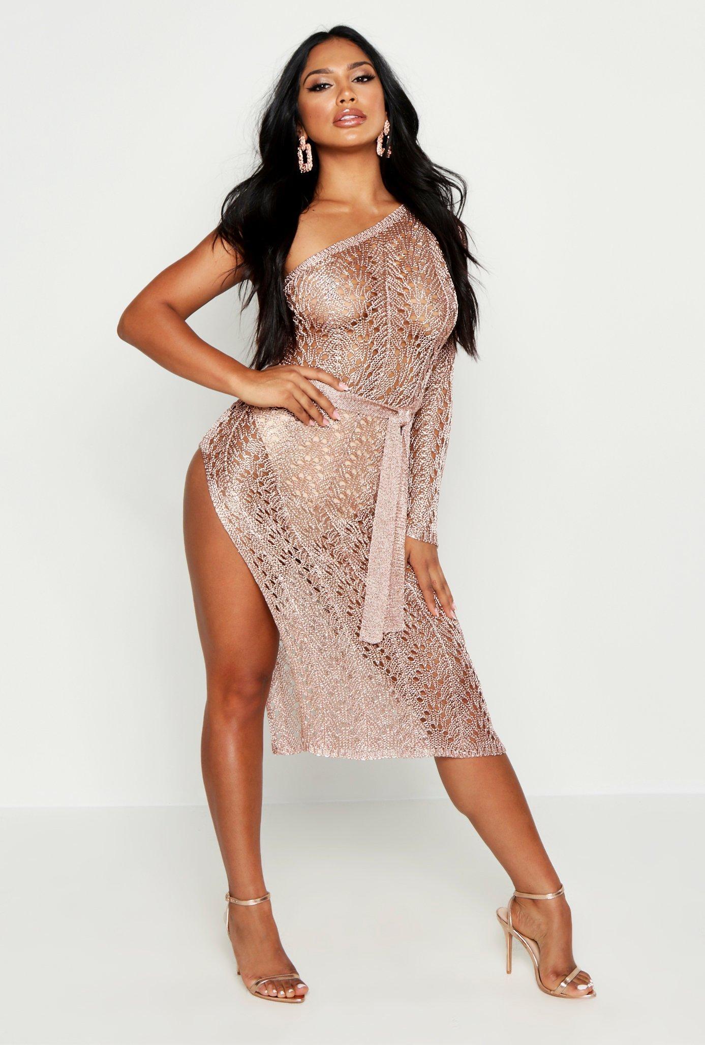 One Shoulder Metallic Knitted Dress, Pink